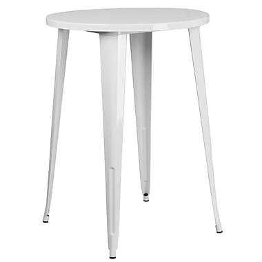 30'' Round White Metal Indoor-Outdoor Bar Height Table (CH-51090-40-WH-GG)