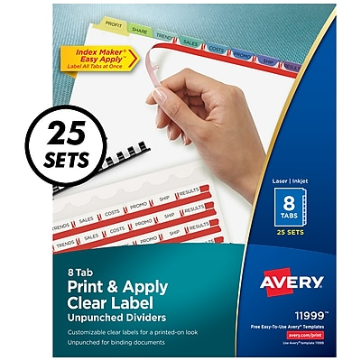 photograph about Colored Printable Labels named Avery Print Employ Crystal clear Label Unpunched Dividers, Index Producer Simple Implement Printable Label Strip, 8 Pastel Tabs, 25 Sets (11999)