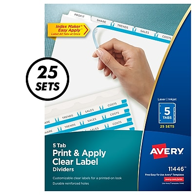 Avery Print & Apply Maker Easy Apply 5 Tab Dividers, White, 25/Box (11446)