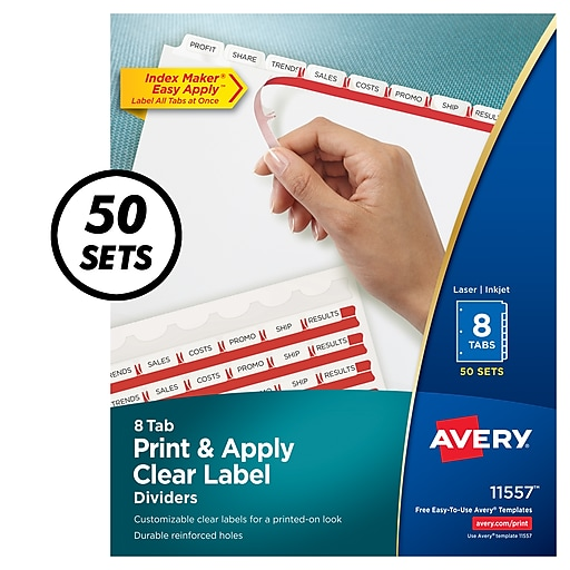 Avery® Index Maker Clear Label Tab Dividers, 8-Tab, White, 50 Sets/Pack  (11557)