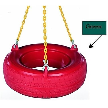 Child Works Plastic Tire With Plastisol Chains- Green (Spint237)