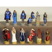 Royal Chess King Arthur Chessmen, Painted Resin Chessmen (Wwi1925) by