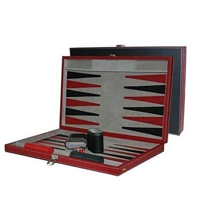 Chh 18 Inch Black And Red Leatherette Backgammon Set (Chhg011) 2488498