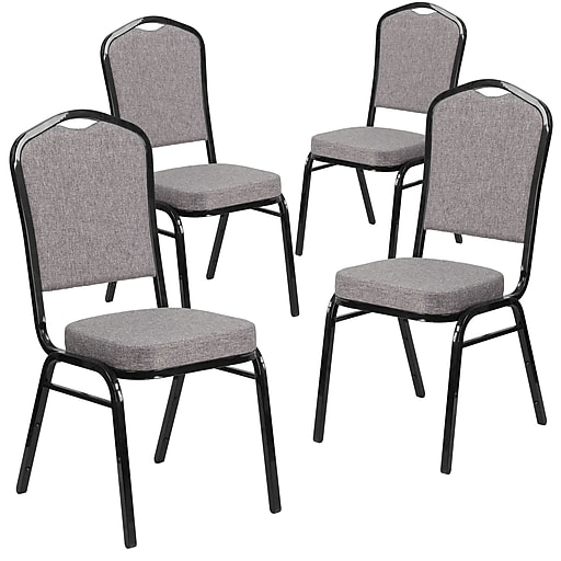 Crown Back Stacking Banquet Chair with Herringbone Fabric and Thick Seat, Silver Frame, 4/Pack(4FDC01S12GG)