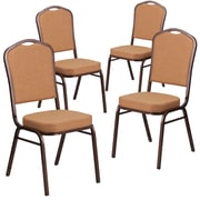 4 Pack Crown Back Stacking Banquet Chair with Brown Fabric and Thick Seat - Copper Vein Frame [4-FD-C01-COP-1-GG]
