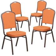 4 Pack Crown Back Stacking Banquet Chair with Orange Fabric and Thick Seat - Copper Vein Frame [4-FD-C01-C-9-GG]