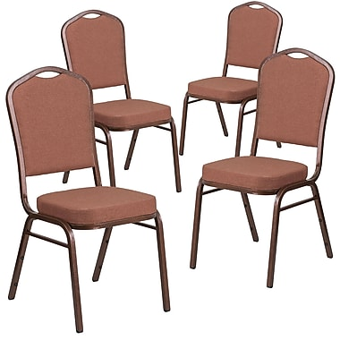 4 Pack Crown Back Stacking Banquet Chair with Grey Dot Fabric and Thick Seat - Silver Frame [4-FD-C01-S-6-GG]