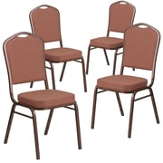 4 Pack Crown Back Stacking Banquet Chair with Gray Dot Fabric and Thick Seat - Silver Frame [4-FD-C01-S-6-GG]