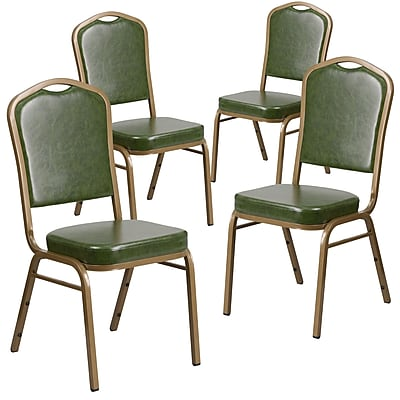 4 Pack Crown Back Stacking Banquet Chair with Gray Fabric and Thick Seat - Black Frame [4-FD-C01-B-5-GG]