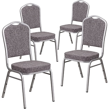 4 Pack Crown Back Stacking Banquet Chair with Brown Fabric and Thick Seat - Copper Vein Frame [4-FD-C01-C-4-GG]