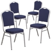 4 Pack Crown Back Stacking Banquet Chair with Green Vinyl and Thick Seat - All Gold Frame [4-FD-C01-G-3-GG]