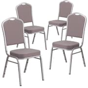 4 Pack Crown Back Stacking Banquet Chair with Green Fabric and Thick Seat - Gold Vein Frame [4-FD-C01-GV-8-GG]