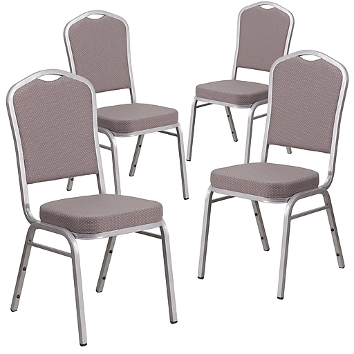 4 Pk Crown Back Stacking Banquet Chair with Green Fabric and Thick Seat - Gold Vein Frame [4-FD-C01-GV-8-GG]