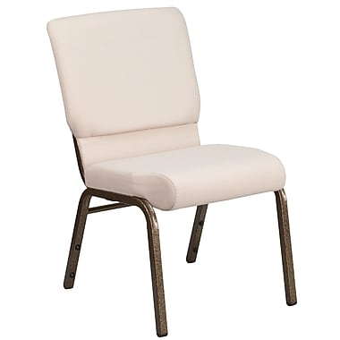 18.5''W Beige Fabric Stacking Church Chair with 4.25'' Thick Seat, Gold Vein Frame [FD-CH02185-GV-B2-GG]