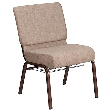 21'' Wide Beige Fabric Church Chair with 4'' Thick Seat, Book Rack, Copper Vein Frame [FD-CH0221-4-CV-BGE1-BAS-GG]