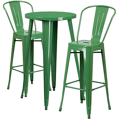24'' Round Green Metal Indoor-Outdoor Bar Table Set with 2 Cafe Barstools [CH-51080BH-2-30CAFE-GN-GG]