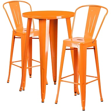 Ensemble de table de bar ronde 24 po en métal orange avec 2 tabourets à café, intérieur/extérieur [CH-51080BH-2-30CAFE-OR-GG]