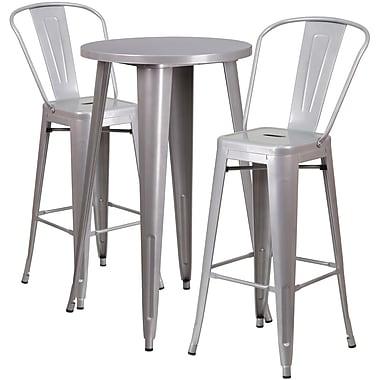 Ensemble de table bar ronde en métal argenté avec 2 tabourets à café, intérieur/extérieur, 24 po [CH-51080BH-2-30CAFE-SIL-GG]