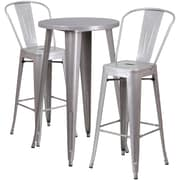 24'' Round Silver Metal Indoor-Outdoor Bar Table Set with 2 Cafe Barstools [CH-51080BH-2-30CAFE-SIL-GG]