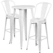 24'' Round White Metal Indoor-Outdoor Bar Table Set with 2 Cafe Barstools [CH-51080BH-2-30CAFE-WH-GG]
