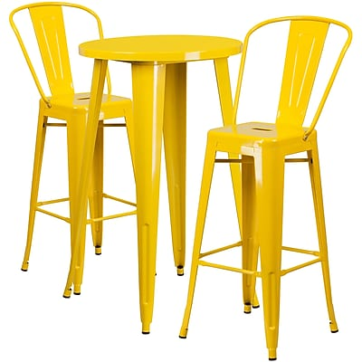 24'' Round Yellow Metal Indoor-Outdoor Bar Table Set with 2 Cafe Barstools [CH-51080BH-2-30CAFE-YL-GG]