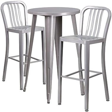 Ensemble de table de bar ronde 24 po en métal argenté, 2 tabourets à dos lattes verticales, int/ext [CH-51080BH-2-30VRT-SIL-GG]