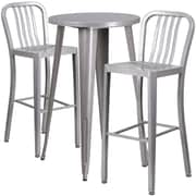 24'' Round Silver Metal Indoor-Outdoor Bar Table Set with 2 Vertical Slat Back Barstools [CH-51080BH-2-30VRT-SIL-GG]