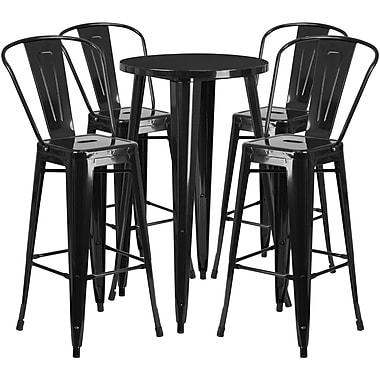 Ensemble de table de bar ronde en métal noir avec 4 tabourets à café, intérieur/extérieur, 24 po [CH-51080BH-4-30CAFE-BK-GG]