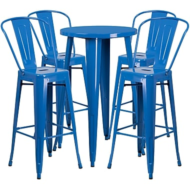 24'' Round Blue Metal Indoor-Outdoor Bar Table Set with 4 Cafe Barstools [CH-51080BH-4-30CAFE-BL-GG]