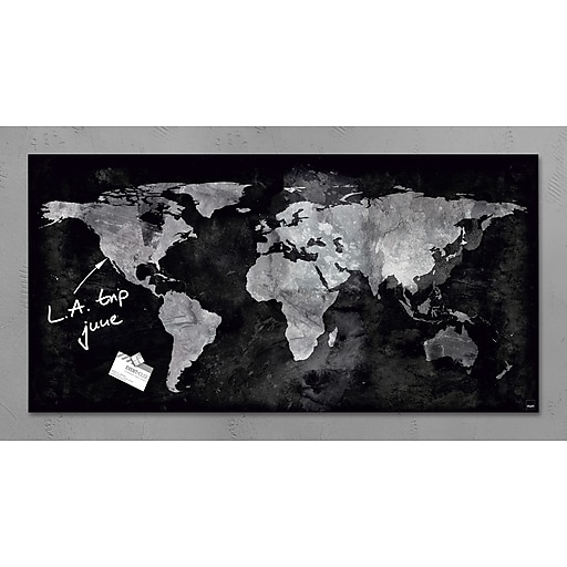 Sigel 36 X 18 Contemporary Magnetic Glass Board World Map