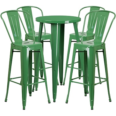 24'' Round Green Metal Indoor-Outdoor Bar Table Set with 4 Cafe Barstools [CH-51080BH-4-30CAFE-GN-GG]