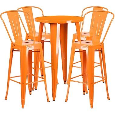 Ensemble de table de bar ronde 24 po en métal orange avec 4 tabourets à café, intérieur/extérieur [CH-51080BH-4-30CAFE-OR-GG]