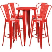 24'' Round Red Metal Indoor-Outdoor Bar Table Set with 4 Cafe Barstools [CH-51080BH-4-30CAFE-RED-GG]