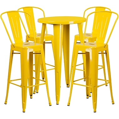 24'' Round Yellow Metal Indoor-Outdoor Bar Table Set with 4 Cafe Barstools [CH-51080BH-4-30CAFE-YL-GG]