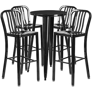Ensemble de table bar ronde en métal noir avec 4 tabourets à dos lattes verticales, int/ext, 24 po [CH-51080BH-4-30VRT-BK-GG]