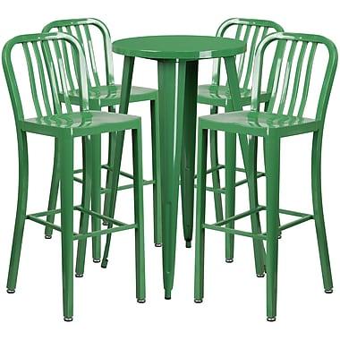 Table de bar ronde de 24 po en métal avec 4 chaises à dossier à lattes verticales, int./ext., vert (CH-51080BH-4-30VRT-GN-GG)