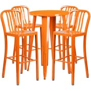 24'' Round Orange Metal Indoor-Outdoor Bar Table Set with 4 Vertical Slat Back Barstools [CH-51080BH-4-30VRT-OR-GG]