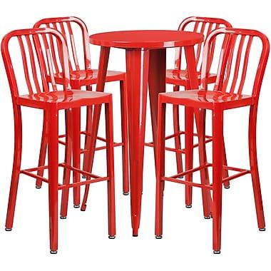 Table de bar ronde de 24 po en métal avec 4 chaises à dossier à lattes verticales, int./ext., rouge (CH-51080BH-4-30VRT-RED-GG)
