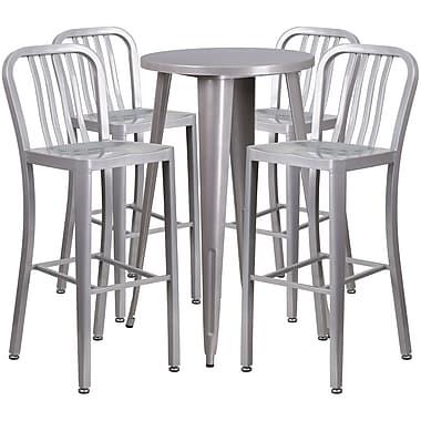 Ensemble de table bar ronde 24 po en métal argenté avec 4 tabourets à dos lattes verticales, int/ext [CH-51080BH-4-30VRT-SIL-GG]