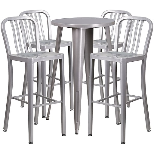 24'' Round Silver Metal Indoor-Outdoor Bar Table Set with 4 Vertical Slat Back Barstools [CH-51080BH-4-30VRT-SIL-GG]
