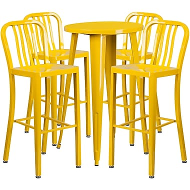 24'' Round Yellow Metal Indoor-Outdoor Bar Table Set with 4 Vertical Slat Back Barstools [CH-51080BH-4-30VRT-YL-GG]