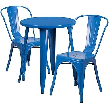Ensemble de table ronde 24 po en métal bleu avec 2 chaises à café, intérieur/extérieur [CH-51080TH-2-18CAFE-BL-GG]