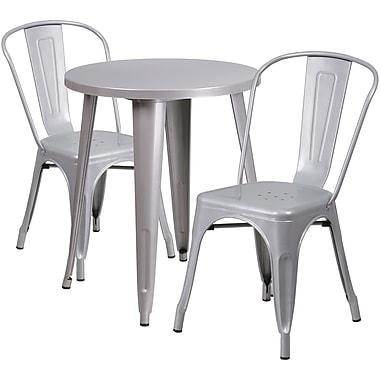 Table ronde de 24 po en métal avec 2 chaises de bistro, intérieur/extérieur, argenté [CH-51080TH-2-18CAFE-SIL-GG]