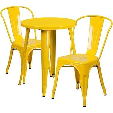 Ensemble avec table ronde en métal jaune et 2 sièges de bistro, intérieur/extérieur, 24 po [CH-51080TH-2-18CAFE-YL-GG]