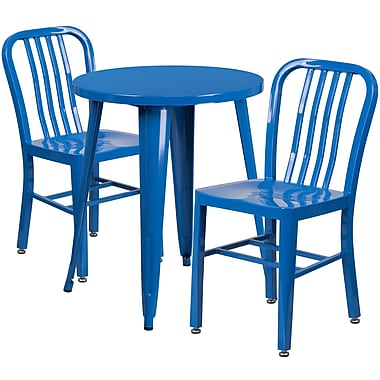 Table ronde de 24 po en métal avec 2 chaises à dossier à lattes verticales, int/ext, bleu [CH-51080TH-2-18VRT-BL-GG]