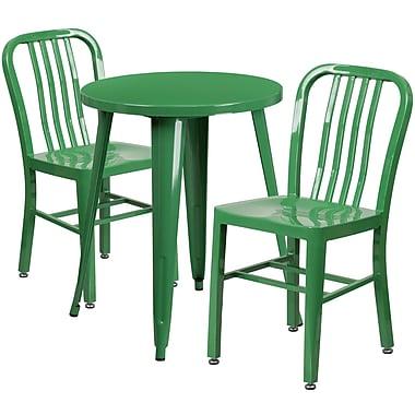 Table ronde de 24 po en métal avec 2 chaises à dossier à lattes verticales, int./ext., vert (CH-51080TH-2-18VRT-GN-GG)