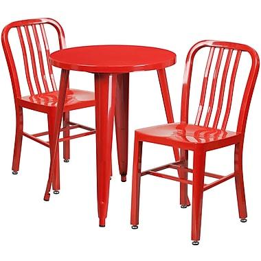 Table ronde de 24 po en métal avec 2 chaises à dossier à lattes verticales, int./ext., rouge (CH-51080TH-2-18VRT-RED-GG)