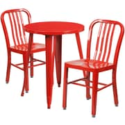 24'' Round Red Metal Indoor-Outdoor Table Set with 2 Vertical Slat Back Chairs [CH-51080TH-2-18VRT-RED-GG]