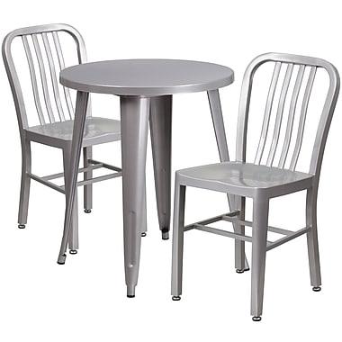 Table ronde de 24 po en métal avec 2 chaises à dossier à lattes verticales, int./ext., argent (CH-51080TH-2-18VRT-SIL-GG)