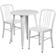 24'' Round White Metal Indoor-Outdoor Table Set with 2 Vertical Slat Back Chairs [CH-51080TH-2-18VRT-WH-GG]